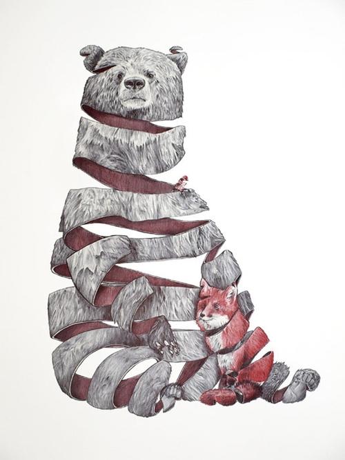 03-Bear-and-Fox-Jaume-Montserrat-Illustrations-of-Ribbon-Animals-in-Emptyland-www-designstack-co