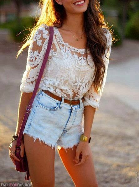 White Lace Shirt With Denim Shorts