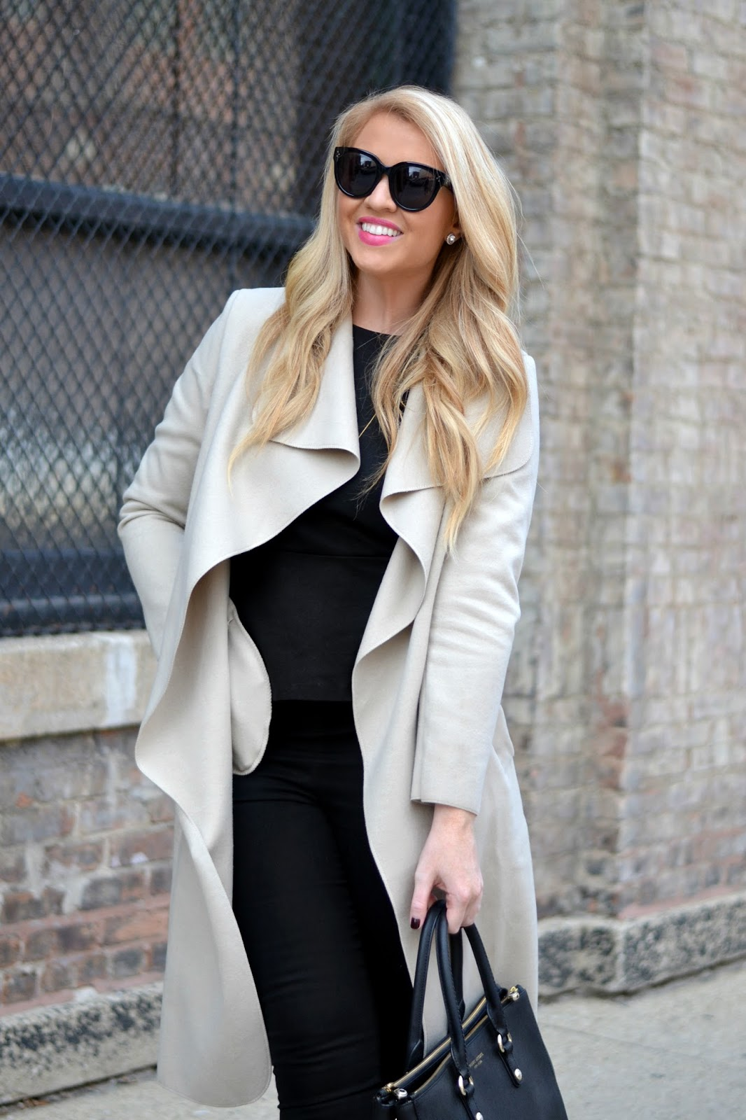 wrap coat with large hooded collar