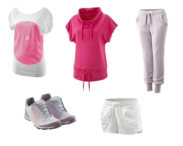 Collage ropa para gimnasio de Stella McCartney Adidas en color rosa y blanco
