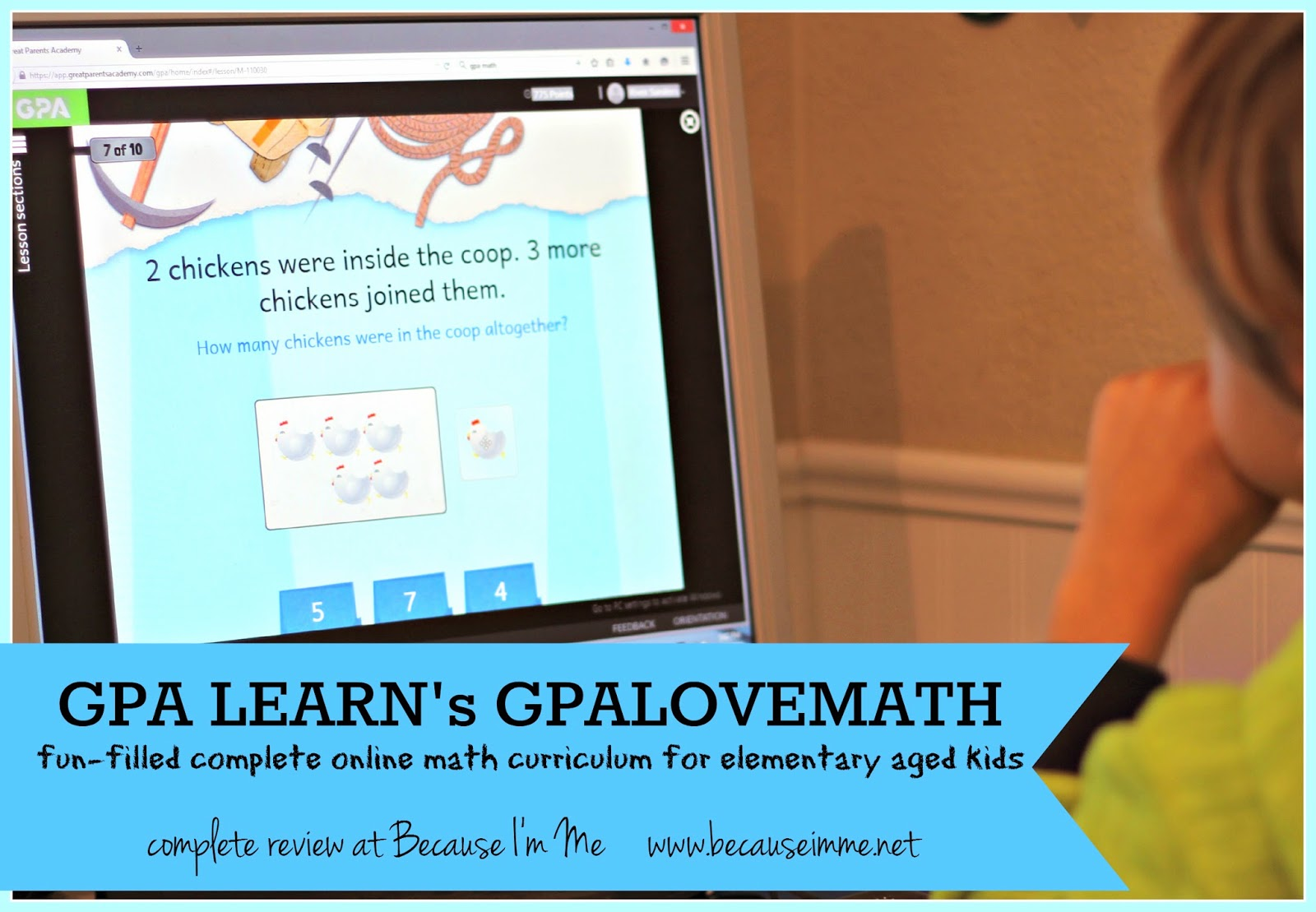 Because I'm Me review of GPA LEARN GPALOVEMATH, online math program for elementary aged home school kids