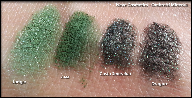 Neve Cosmetics - Ombretti Minerali - Swatch di Jungle, Jazz, Costa Smeralda e Dragon