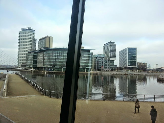 View of TV Centre Studios from the watershard Cafe at IWM North