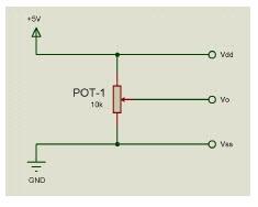 Descrição das funções dos pinos do LCD, potenciômetro