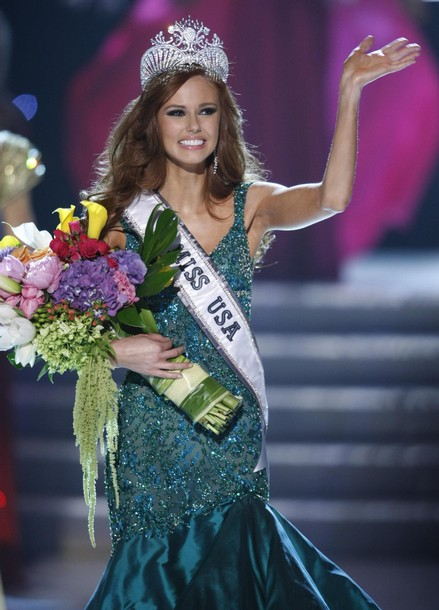 Miss California Alyssa Campanella waves after being crowned Miss USA 2011