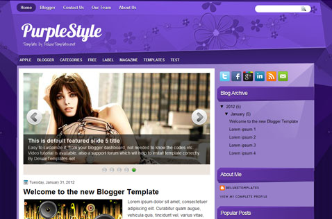 Purple Style Blogger Template