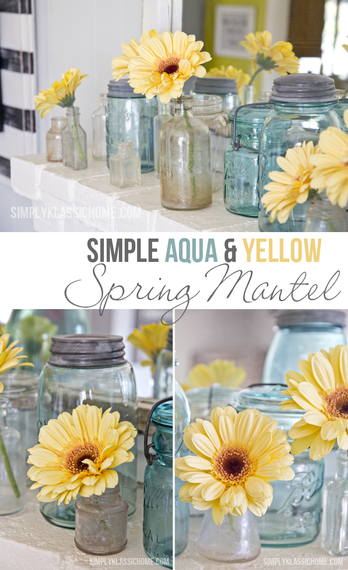 Simple Aqua & Yellow Spring Mantel