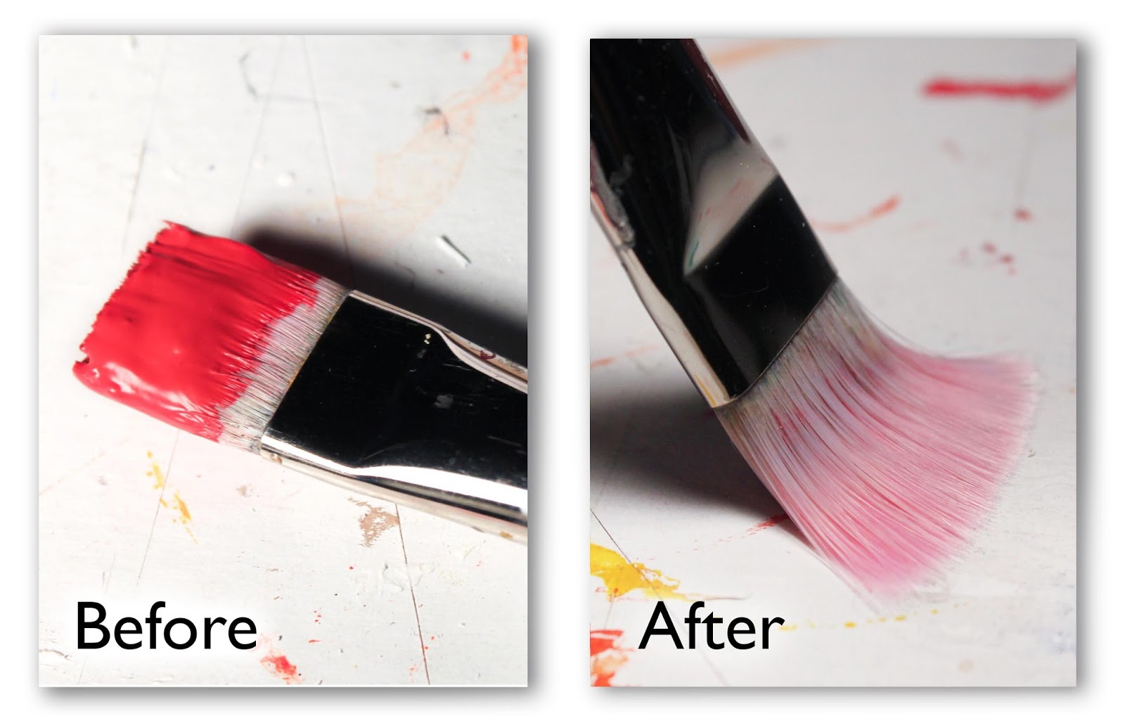 the results of cleaning dried acrylic paint from a paintbrush