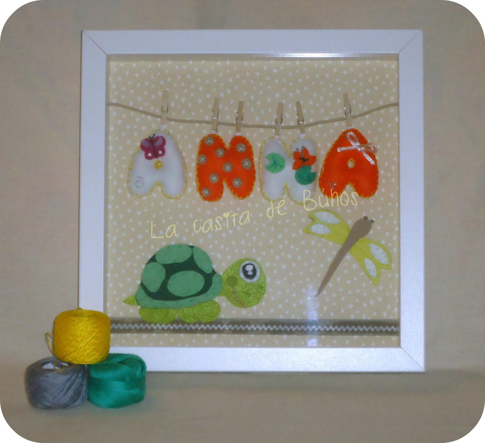 Cuadro de fieltro con tortuga y libelula - Felt turtle frame Ribba