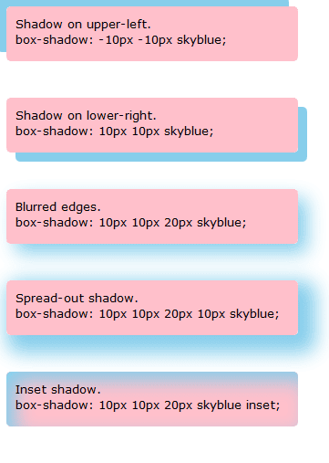 box shadow CSS3 example