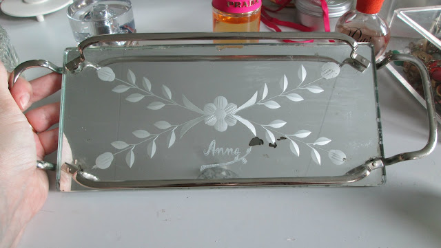 dressing table tray mirrored engraved Anna