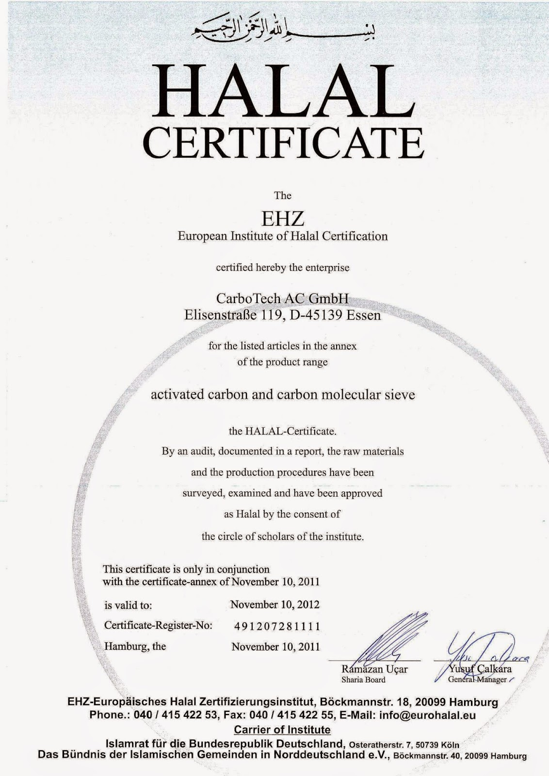 sertifikat halal karbon aktitf | jual karbon aktif