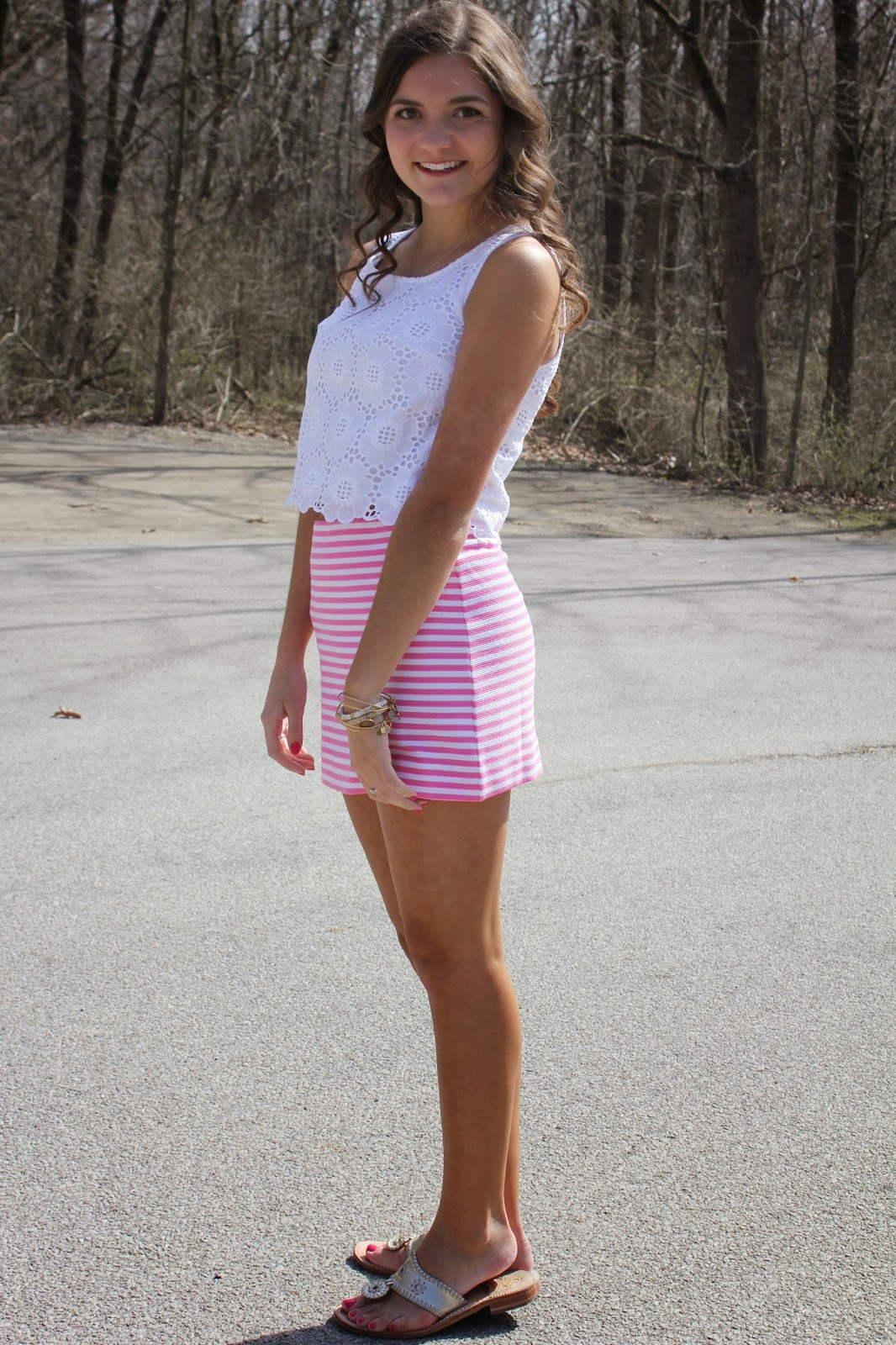 Lilly Pulitzer Tate Striped Skirt and Lux Lace Crop Top by Anchors and Pearls