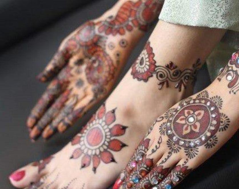 Mehndi Foot Designs : Mehndi design: stone studded design for bridals foot