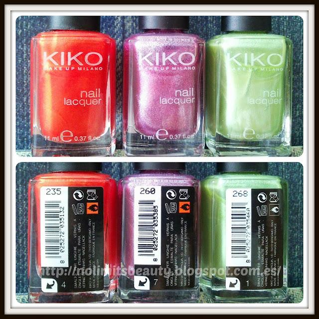 Kiko Nail Lacquer (235, 260 y 268)