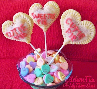 Valentine Conversation Heart Pie Pops with a cherry filling. KitchenFunWithMy3Sons.com