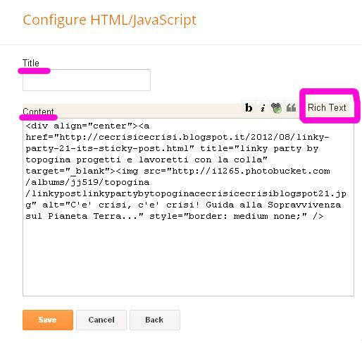 CONFIGURA CODICE HTML JAVA