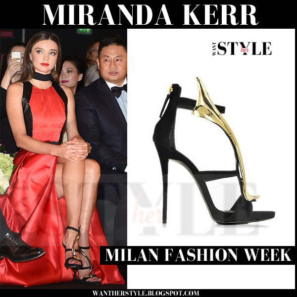 Miranda Kerr in red silk dress with black gold detail sandals milan fashion week front row what she wore