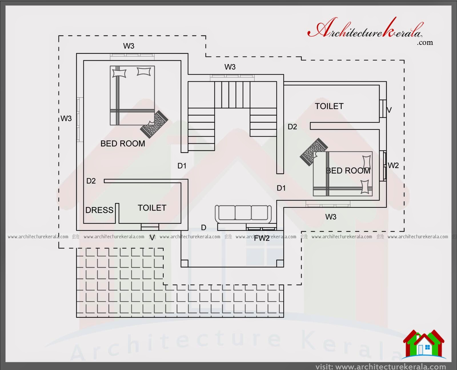 4 bedroom house plan in 1400 square feet architecture kerala for Four bedroom kerala house plans