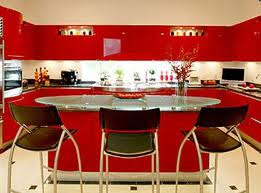 Red Kitchen Cabinets Design Image