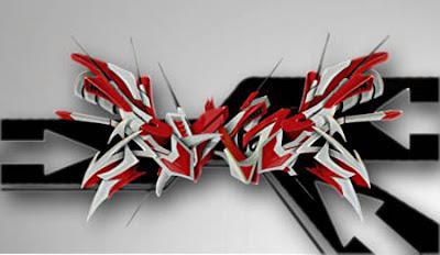 3d graffiti arrow grafik tribal