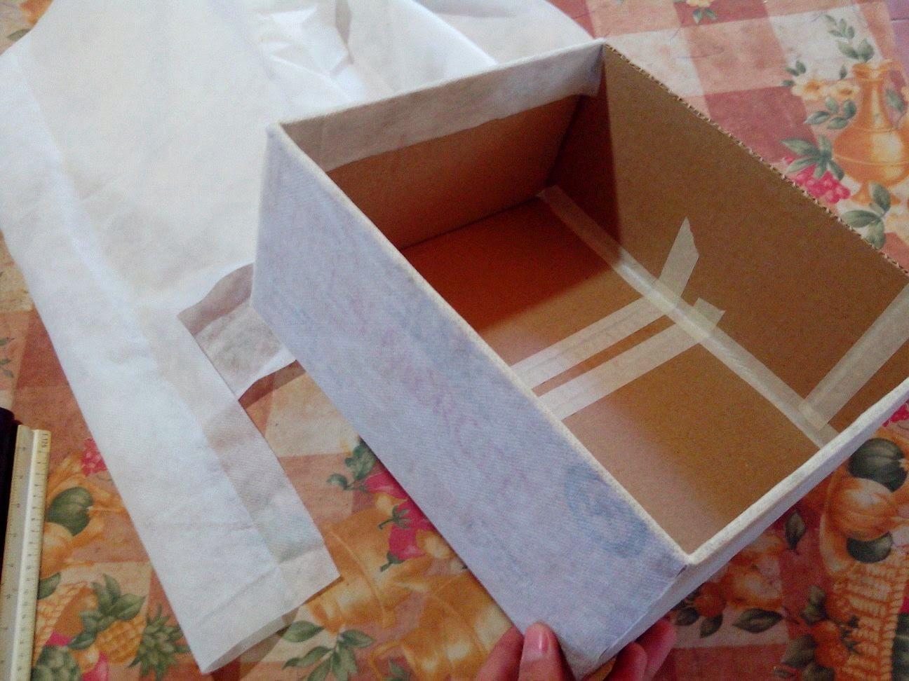 Manualidades caja forrada con tela para guardar objetos - Forrar cajas de carton con telas ...