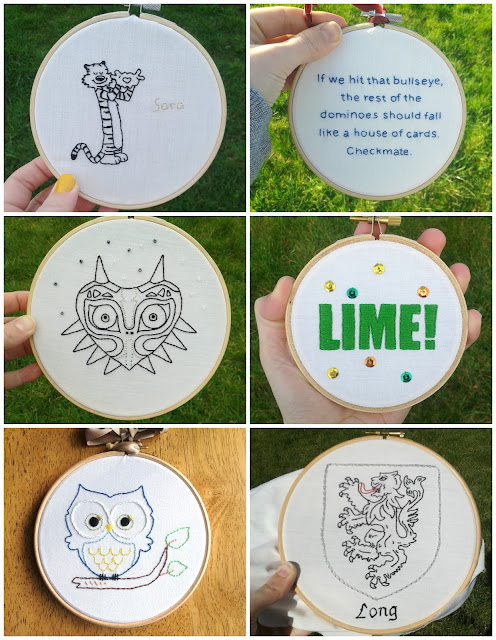 Calvin and Hobbes, Zap Brannigan, Majora's Mask, owl, lime, Long family crest embroidery