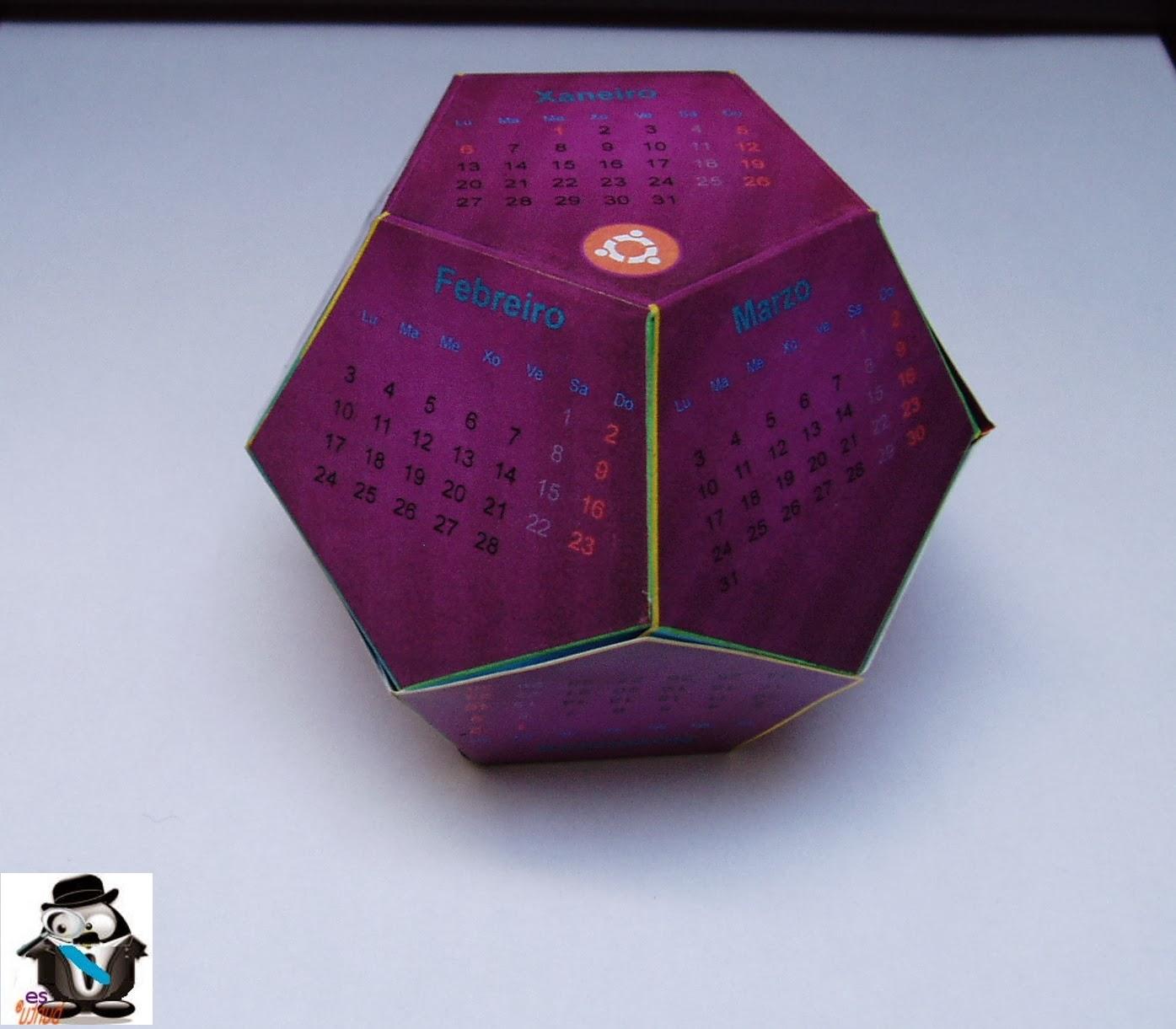 Calendario dodecaedro Ubuntu 2014 gallego