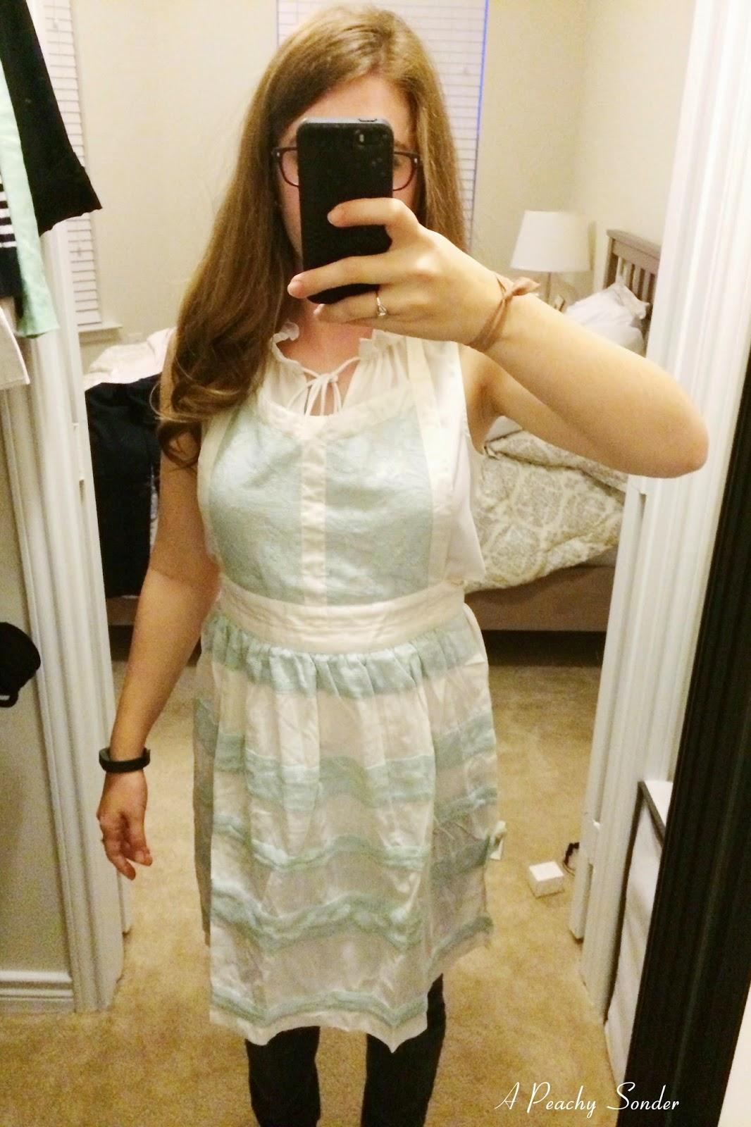 blue lace apron