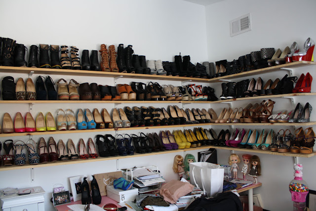 messy shoe closet needs to be organized