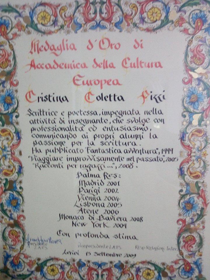 Medaglia d'oro Accademica Cultura Europea