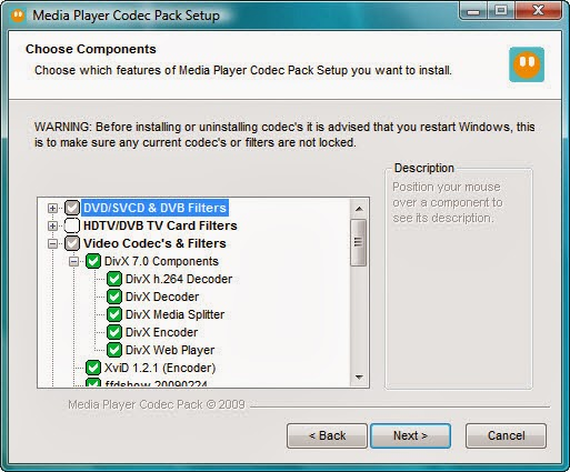 Media Player Codec Pack 4.2.9 - Installation Components