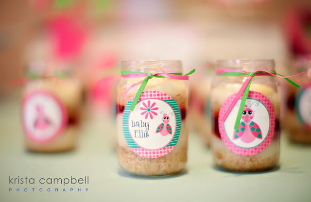 food in jar, baby, daisy, lil ladybug decor, ribbon, pink & green, jars
