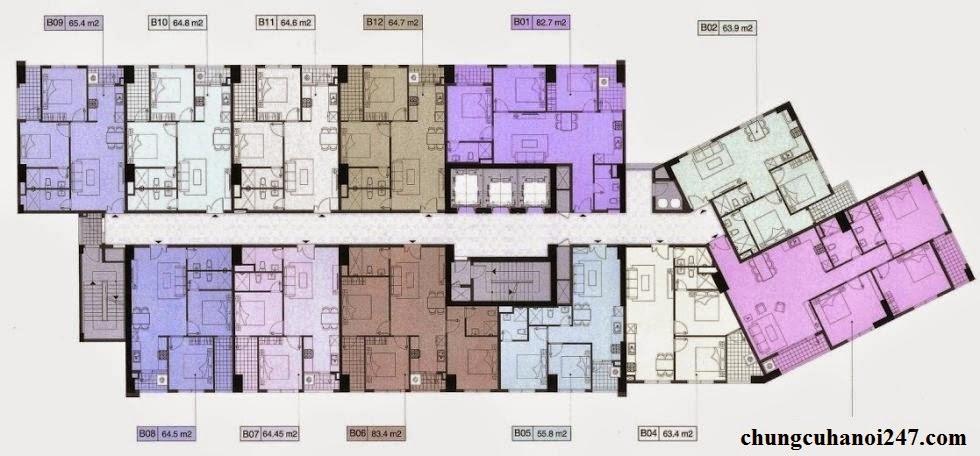Thiết kế chi tiết mặt bằng tầng căn hộ chung cư OCT5B Resco Cổ Nhuế