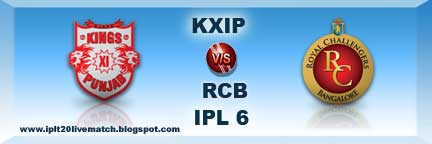 IPL 6 KXIP vs RCB Live Streaming Video and Live Scorecards