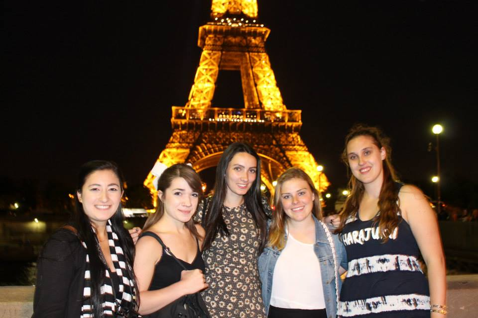 Girls at Eiffel Tower