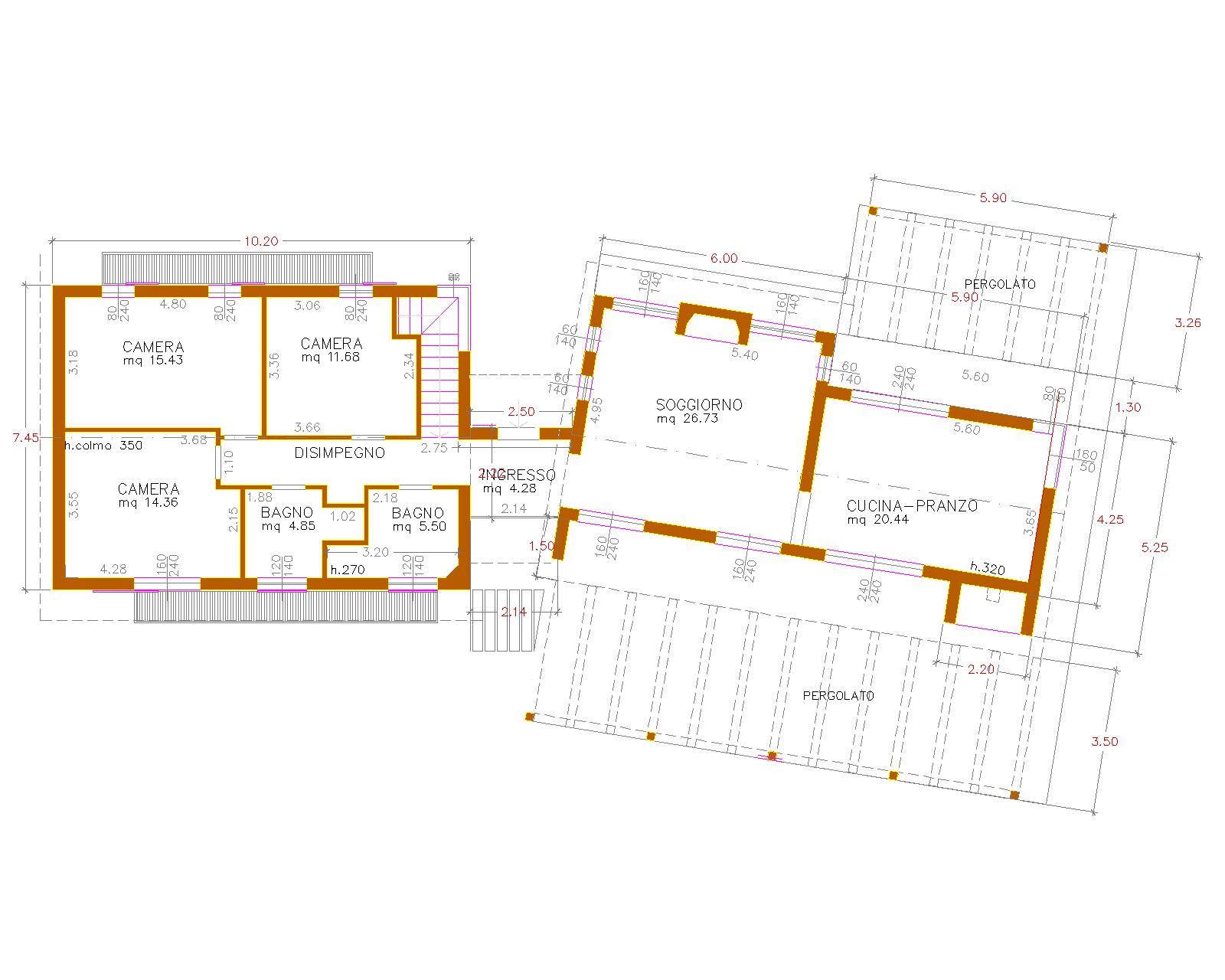 Progetti di case in legno casa 152 mq pergolati for Progetti contemporanei di case a pianta aperta