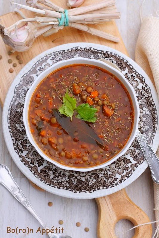 Zupa z zielonej soczewicy po grecku