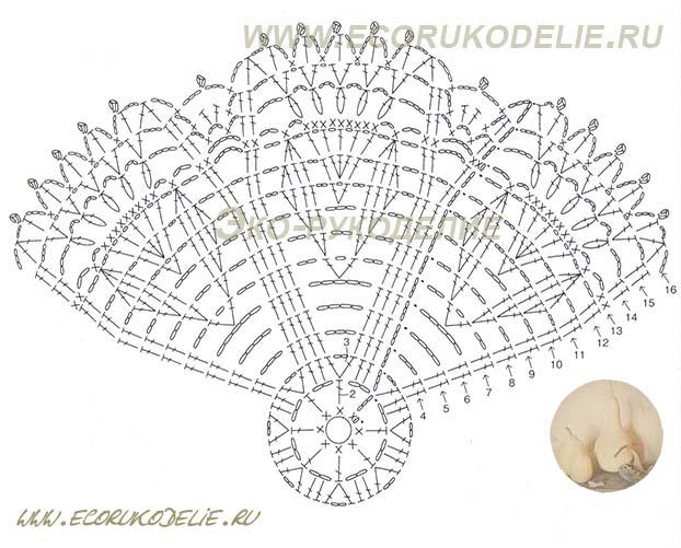 схема салфетки с цветами крючком