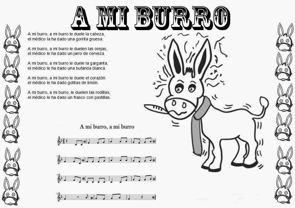 ¡Atención! Ficha para colorear la canción infantil A Mi Burro con letra y nuestra partitura para flauta  Puedes descargarla gratis abriendo la imagen en otra pestaña y luego darle a guardar cómo.