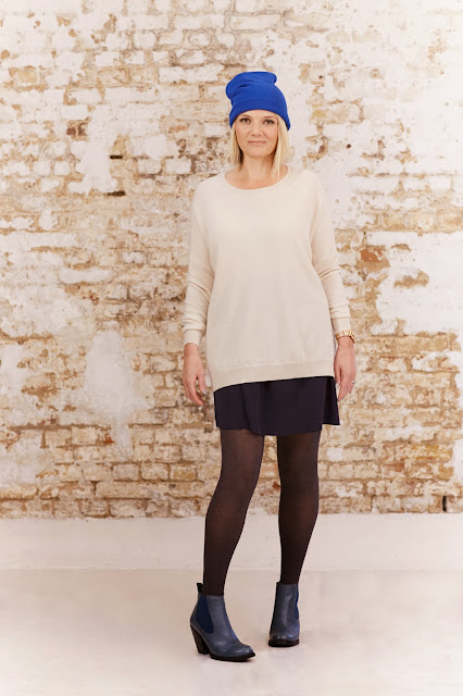 oversized cashmere jumper, mini silk skirt