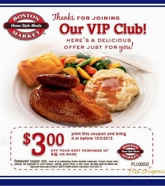 image regarding Printable Boston Market Coupons named Boston current market discount codes printable - Irish cafe miami