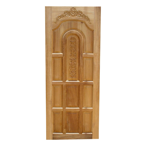 Single wooden kerala model main door single door wood for Single main door designs for home