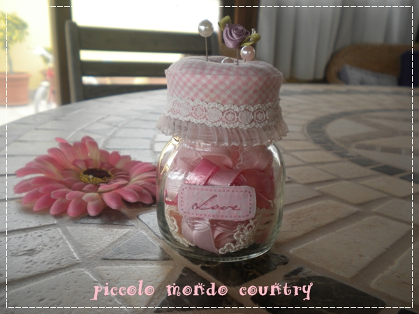 Piccolo mondo country vasetti di vetro decorati - Vasetti di vetro decorati ...