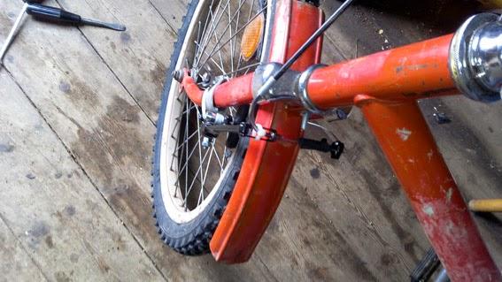 Как установить тормоза v-brake на старый велосипед вид сверху