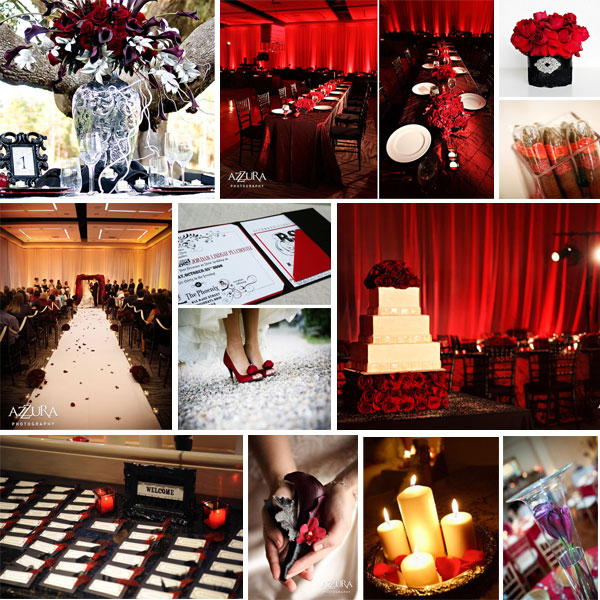 black and red wedding decorations. this yummmy red black and