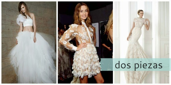 Dos piezas en un top y tul, camisa y pollera de pluma o simulando un vestido entero