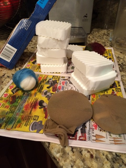 Using nylon stockings to felt soap.