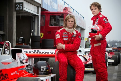 Chri Hemsworth and Daniel Bruhl in Rush