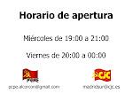 HORARIO DE APERTURA DEL LOCAL